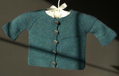 Garter yoke baby cardigan by Jennifer Hoel