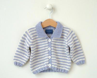 KNITTING PATTERN - mini stripe baby cardigan 0-4m 4-8m 8-12m 1-2yrs