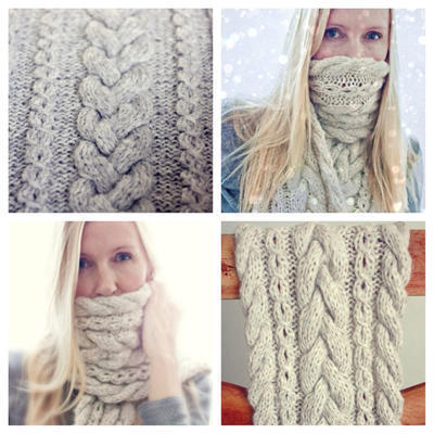 Knitting Pattern - Braided Infinity Scarf - Cowl - Cable Knit