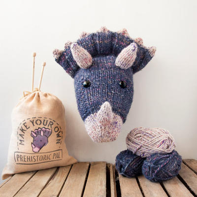 Faux Triceratops Knitting Kit - Make Your Own Prehistoric Pal - Taxidermy Trophy Head