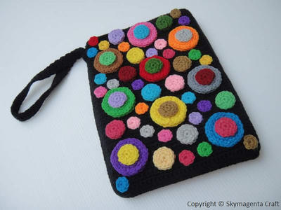 Crochet Pattern - COLORFUL BUBBLE Kindle Cover / Sleeve / Purse