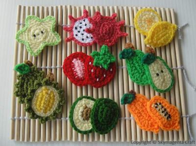 Crochet Pattern - FRUIT APPLIQUE 2
