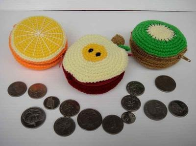 Crochet Pattern - FRUIT PURSE 1 - Orange, Apple and Kiwi
