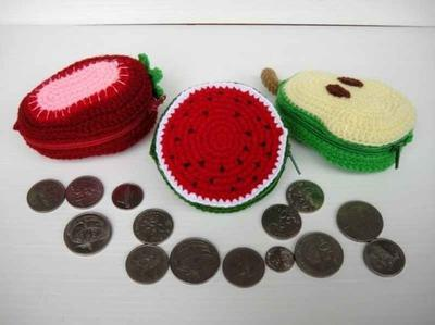 Crochet Pattern - FRUIT PURSE 2 - Watermelon, Strawberry and Pear