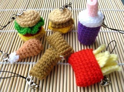 Miniature Crochet Pattern- FAST FOOD- Cell Phone Charm