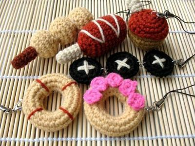 MINIATURE Crochet Pattern-SNACKS-Phone Charm