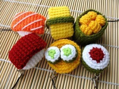 Miniature Crochet Pattern- SUSHI- Cell Phone Charm
