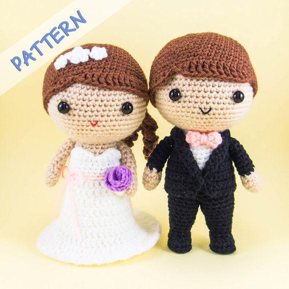 Bride and Groom Amigurumi Pattern -- DIY wedding decoration, wedding gift