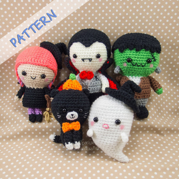 Crochet Halloween Patterns - Set of 5 (Ghost, Witch, Vampire, Cat, Frankenstein)