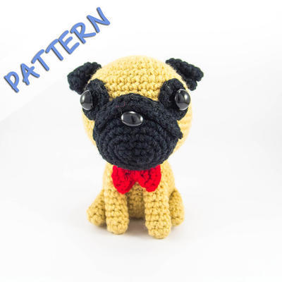 Crochet plush pug with bow tie for dog lover
