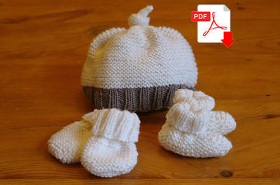 Easy Knitting Pattern: baby hat, booties & mittens - 3 patterns in 1