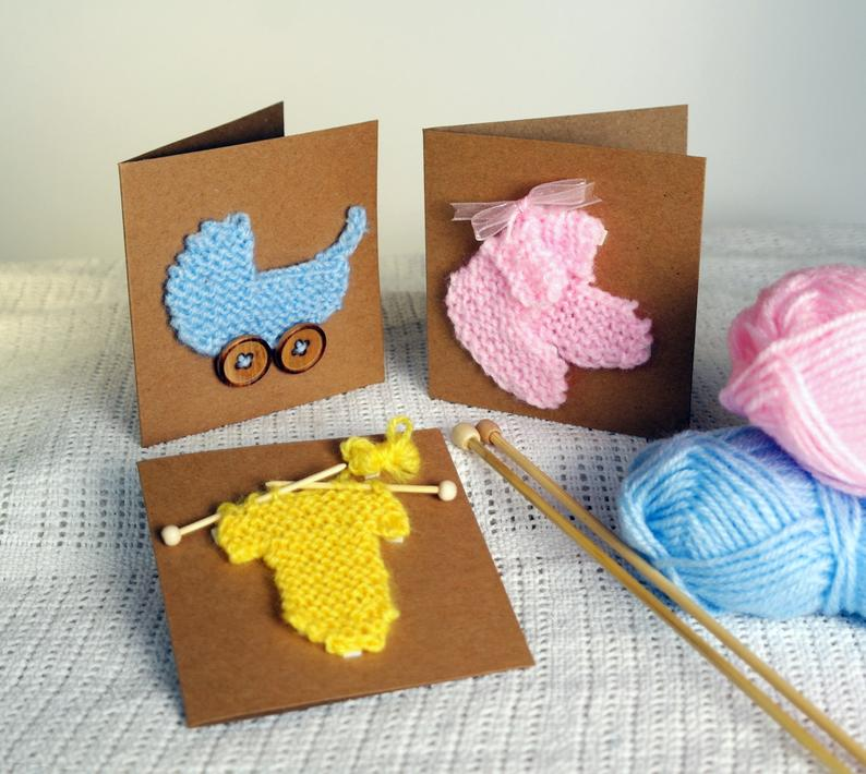 New baby card knitting pattern