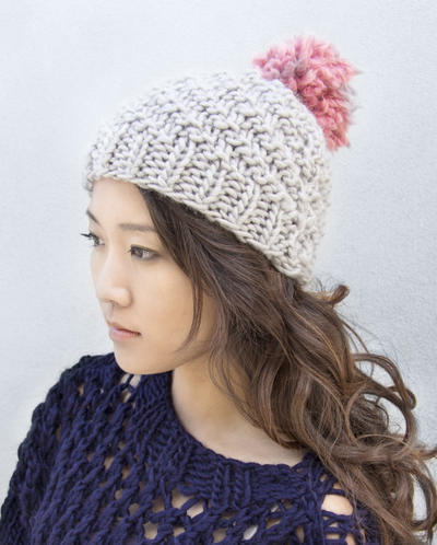 Beginners Swirl Pom Pom Hat Knitting Pattern Download
