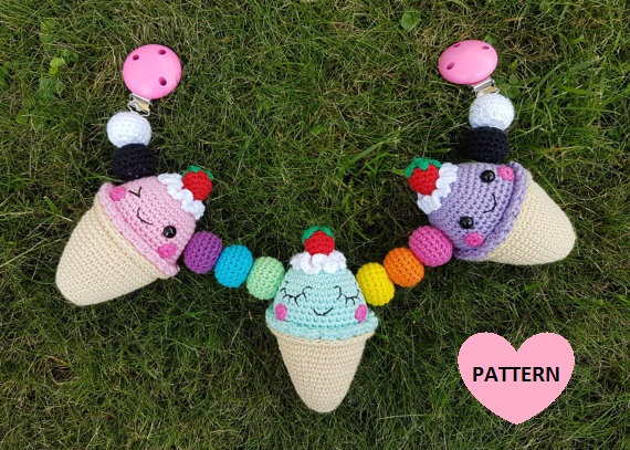 "Baby Stroller Mobile ""Icecreams"" crochet pattern"