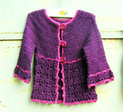 Roseline cardigan for little girls age 4 to 10