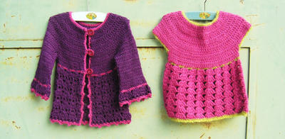 Set of 2 Crochet patterns pdf, Roseline cardigan and Roselette top for little girls