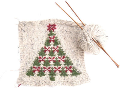 Handknit xmas cushion cover