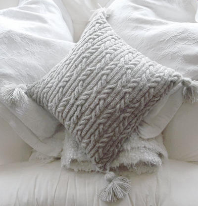 Aran Trellis Cable Cushion/Pillow Hand Knitting Pattern