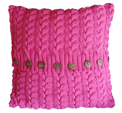 Cotton Cable Cushion/Pillow Cover Hand Knitting Pattern