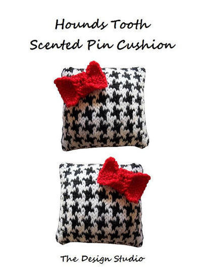 Hounds Tooth Scented Pin Cushion Hand Knitting Pattern