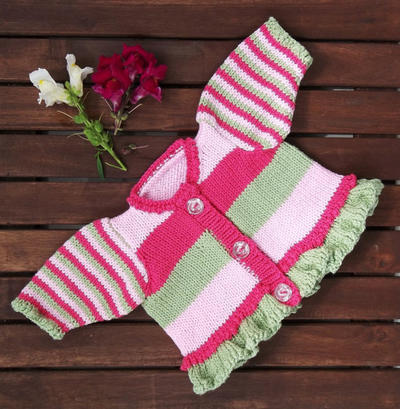 Knitting Pattern. Baby and Toddler. Stripes and Frills