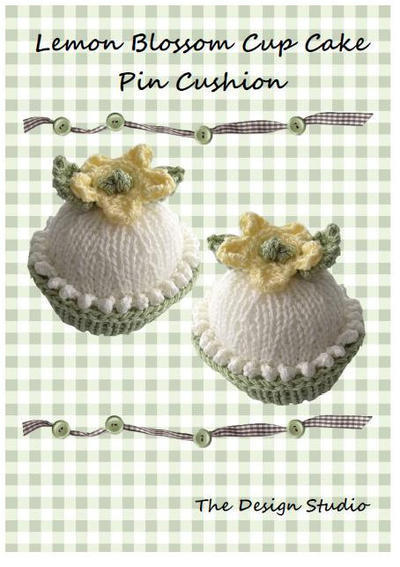 Lemon Blossom Cupcake Pin Cushion Hand Knitting Pattern