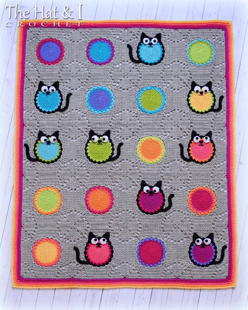 Cat Lover - crochet pattern for cat blanket, colorful cat afghan pattern, granny squares