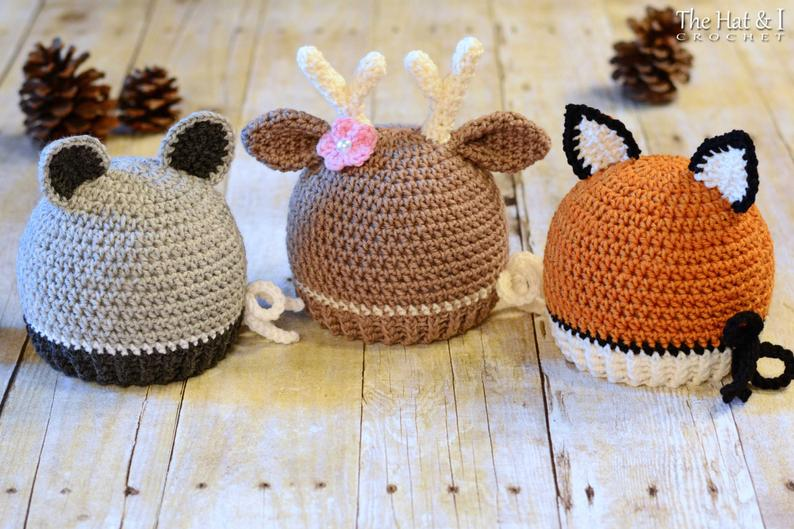Forest Friends - crochet pattern for raccoon deer and fox beanie