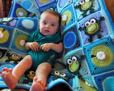 Frog Frenzy - a Toadally Hoppy Frog blanket with lily pads