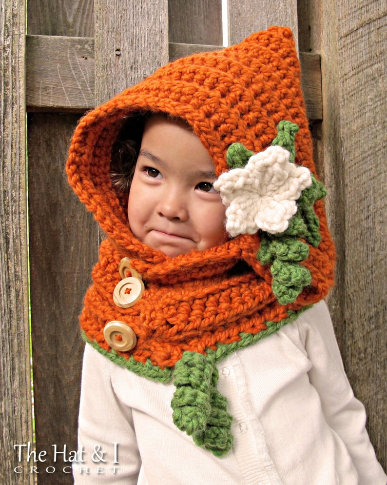 Pumpkin Patch Hoodie - crochet hood pattern, hooded cowl, hat pattern (Toddler Child Adult sizes)