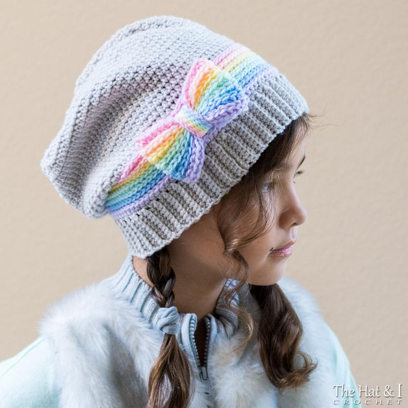 Rainbow Reflections Beanie - crochet pattern beanie & slouch hat w/ bow