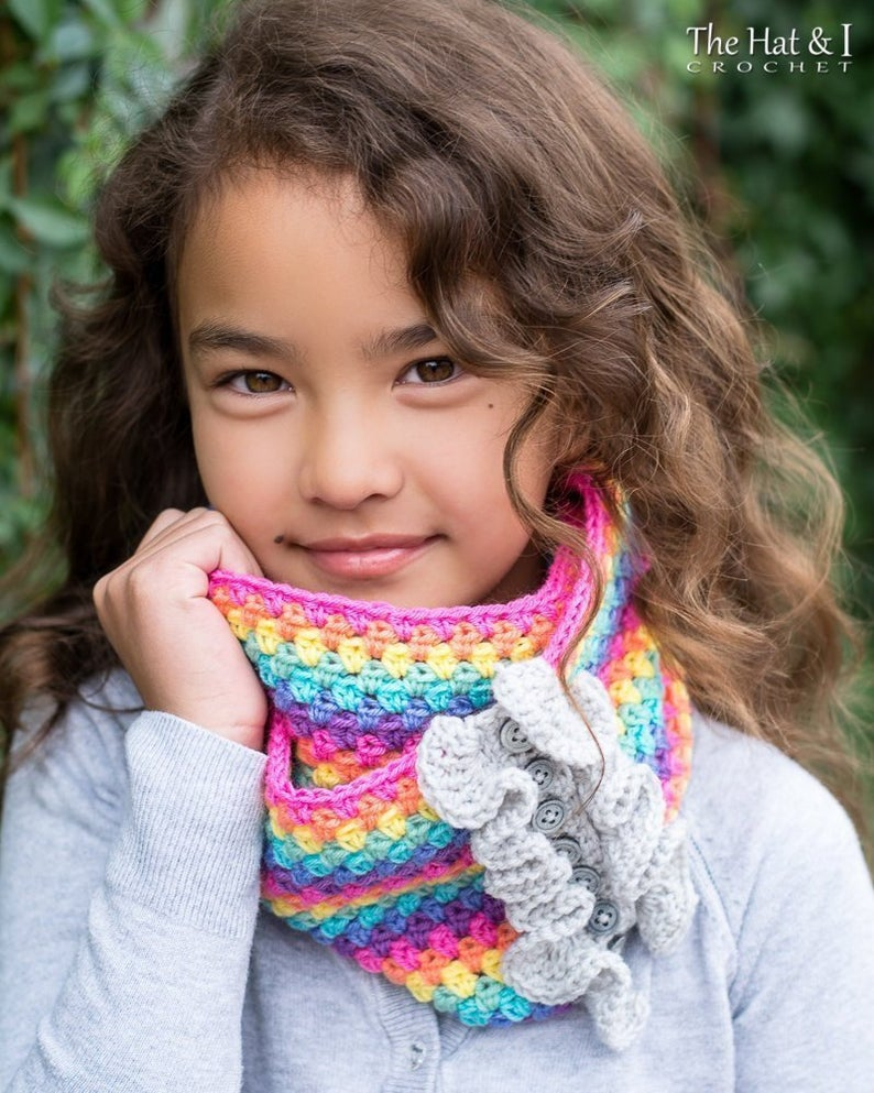 Rainbow Reflections Cowl Scarf - crochet pattern for cowl with buttons (Toddler Child Adult)