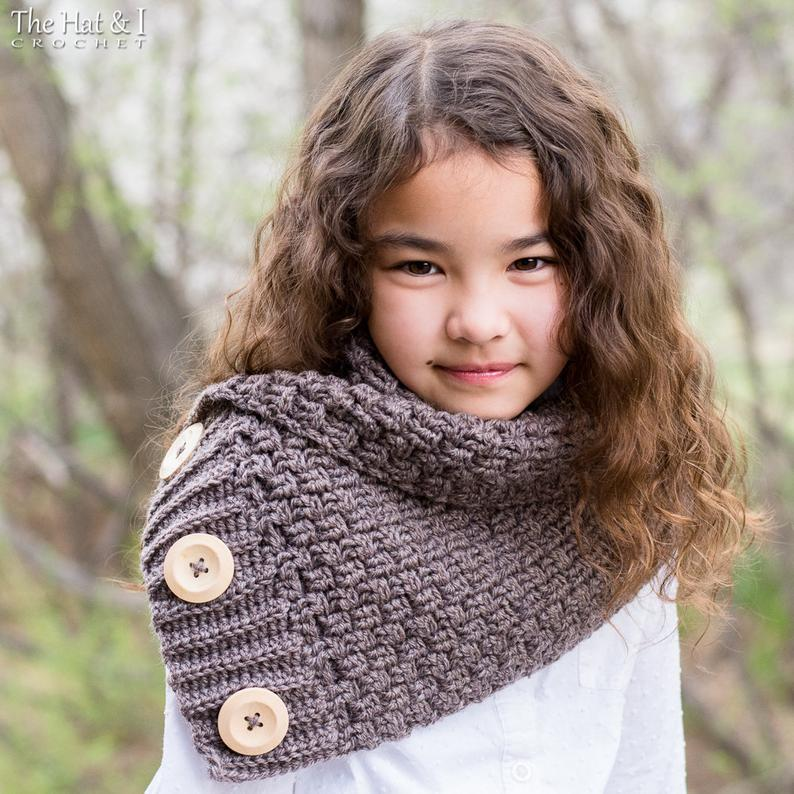 Snuggle Up Scarf - crochet pattern for women cowl scarf w/ buttons (Toddler Child Adult sizes)