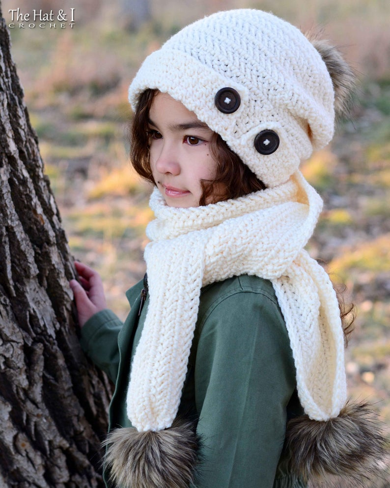 Soft Side Slouchy - crochet pattern for slouch hat + scarf (Toddler Child Adult sizes)