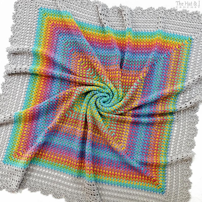 Square Dance Romance - crochet pattern baby throw blanket