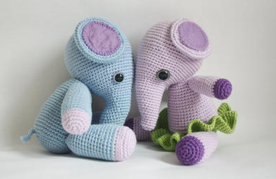 Crochet Elephant Pattern - Mio and Mia