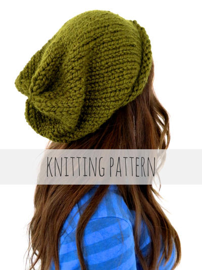 Chunky Soft Knit Slouchy Beanie Hat // Hipster Hat PATTERN