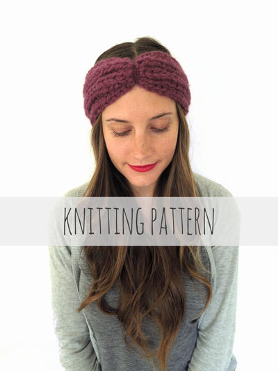 Chunky Soft Knit Turban Headband Ear Warmer // Globe Trotter Headband PATTERN