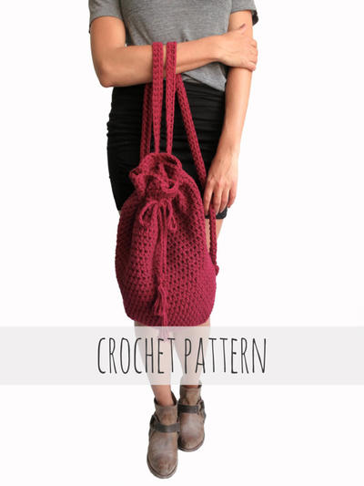 Crochet Backpack Drawstring Mini Hipster Boho Purse // Coba Backpack PATTERN