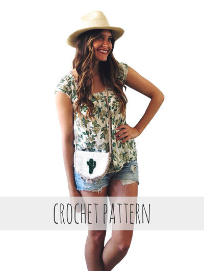 Crochet Cactus Purse Boho Mini Cross Body // Cali Cactus Bag PATTERN