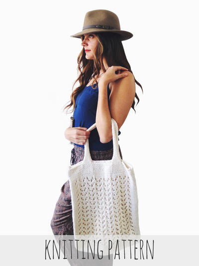 Lace Knit Beach Tote Bag Large Boho Purse // Arrowhead Tote PATTERN