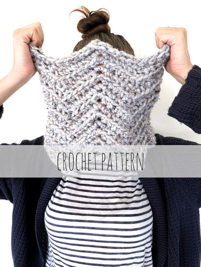 PATTERN for Chunky Soft Chevron Crochet Knit Cowl // Afghan Cowl PATTERN