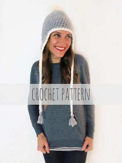 PATTERN for Chunky Soft Crochet Earflap Hat Beanie Pompom Cap