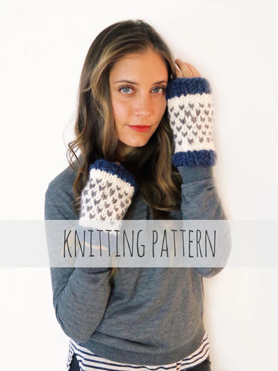 PATTERN for Chunky Soft Knit Finglerless Gloves Heart Mitts Mittens