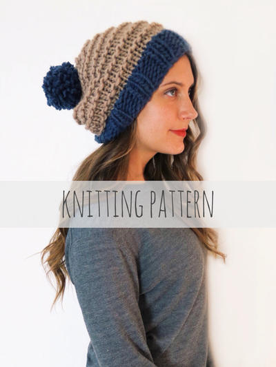 PATTERN for Chunky Soft Knit Slouchy Hat Slouch Beanie Pompom Ski Cap