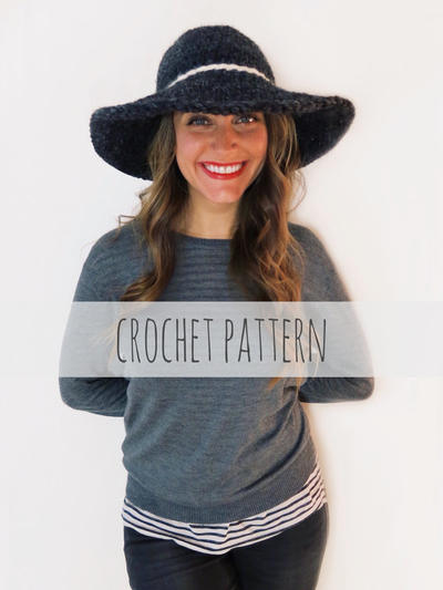 PATTERN for Crochet Floppy Hat Winter Sun Wide Brim Derby Hat