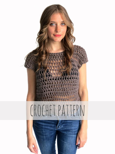 PATTERN for Crochet Top Tee Festival Hippie Boho Beach Cover Up