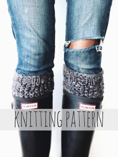 PATTERN for Knit Boot Cuffs Seed Stitch Warmers