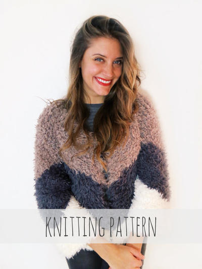 PATTERN for Knit Faux Fur Chevron Jacket Shearling Evening Coat