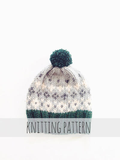 PATTERN for Pompom Winter Ski Fair Isle Patterned Alpine Beanie Cap Hat // Tahoe Toboggan PATTERN